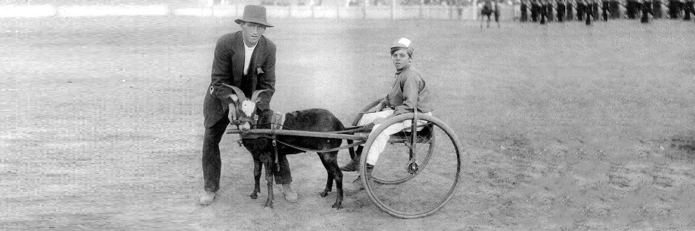 Alex Brown in cart with Robert Brown with BO PEEP,  Bendigo Upper Reserve (The Queen Elizabeth Oval) c1920s . Collection Aylene Kirkwood