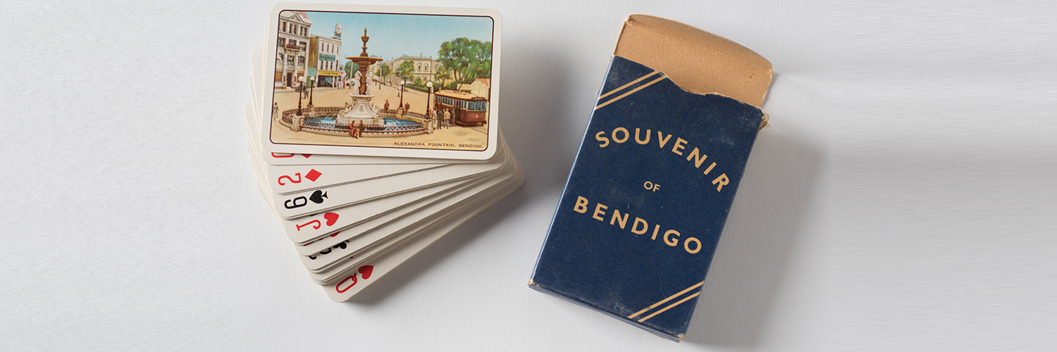 Souvenir playing cards c. 1950s. Distributed by L. Hearn, Newsagent, The Mall, Bendigo. Collection Dennis O'Hoy