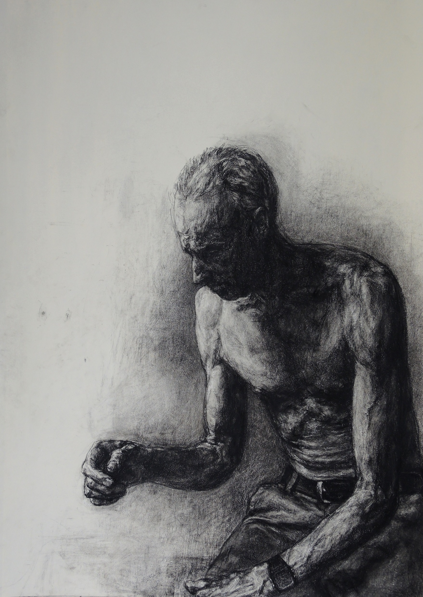 Peter Grziwotz, Study as St Jerome for a self-portrait 2016, charcoal on paper, Courtesy of the artist.