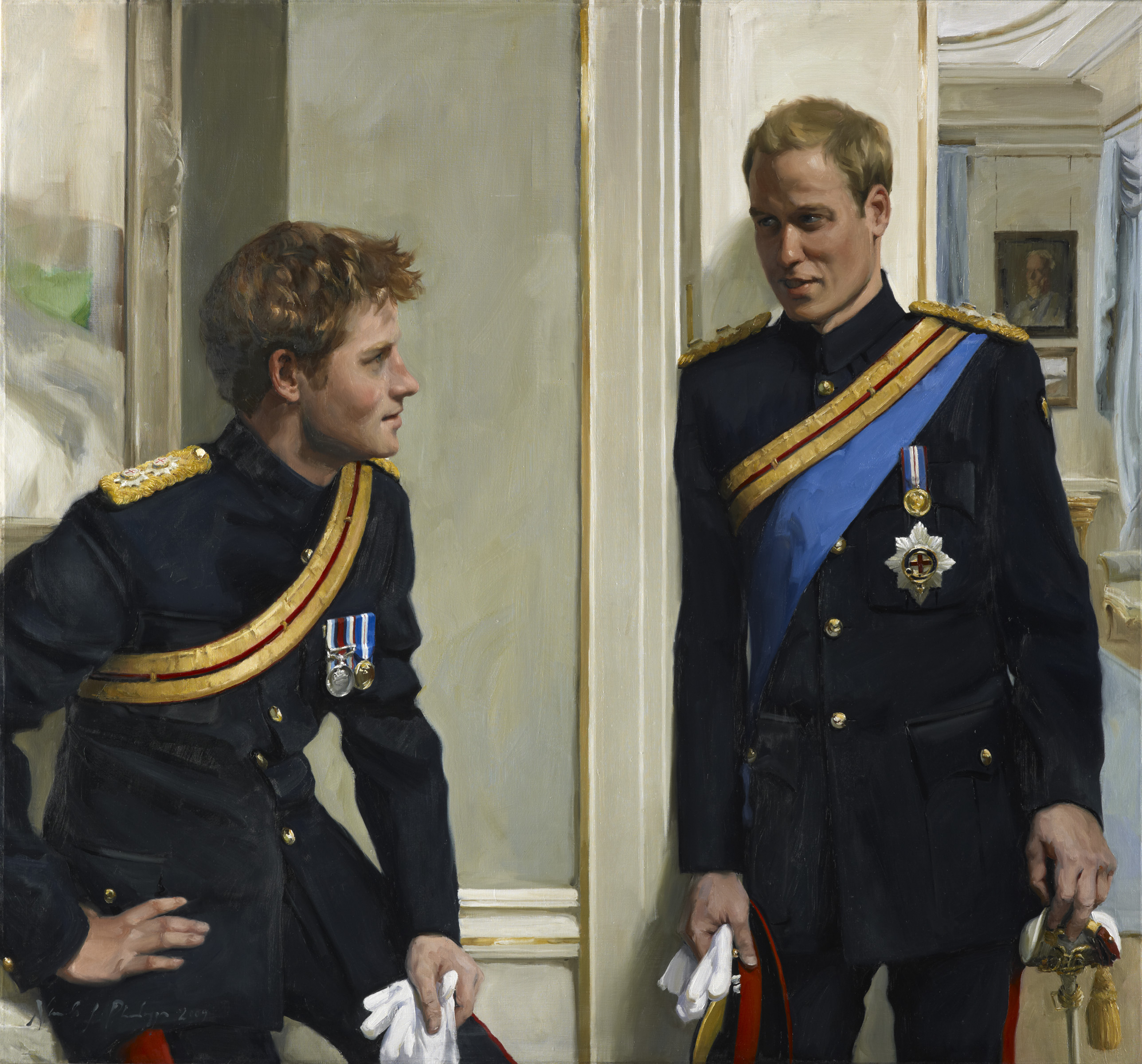 Prince William, (later Duke of Cambridge), Prince Harry (later Duke of Sussex) By Nicola Jane ('Nicky') Philipps, 2009  © National Portrait Gallery, London