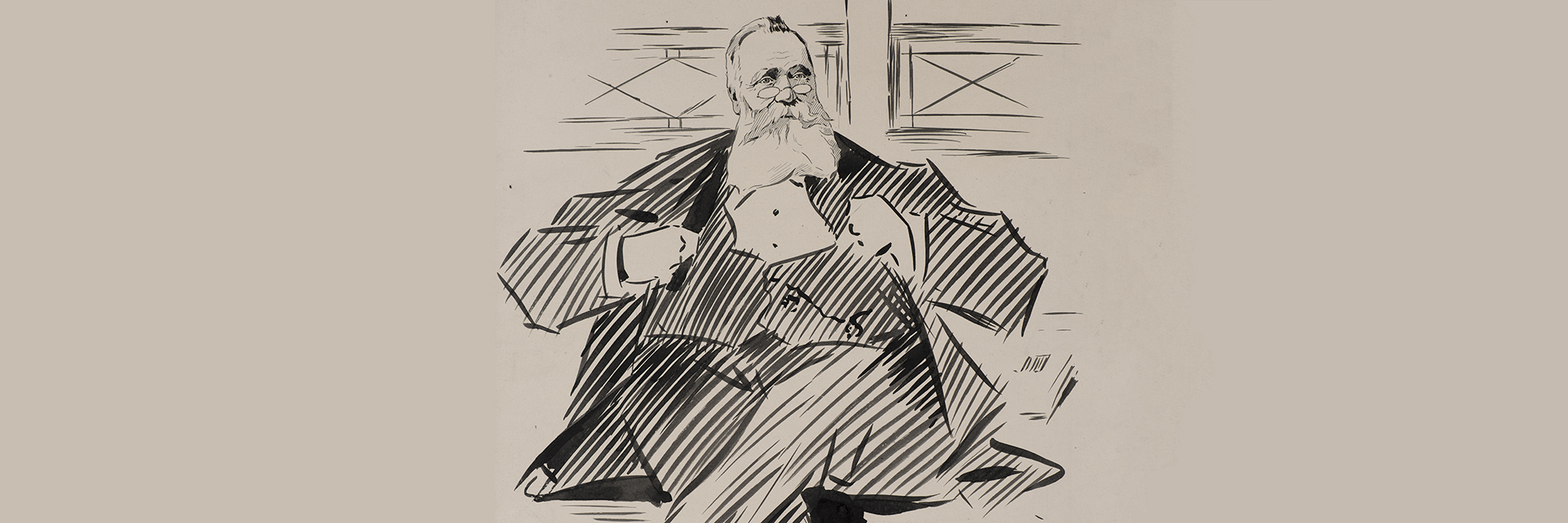 L.J. Jones, Sketch of Mr. J.H. Abbott (early 20th century), brush and ink. Gift of the Estate of Mr. J.H. Abbott, 1932. Collection, Bendigo Art Gallery.