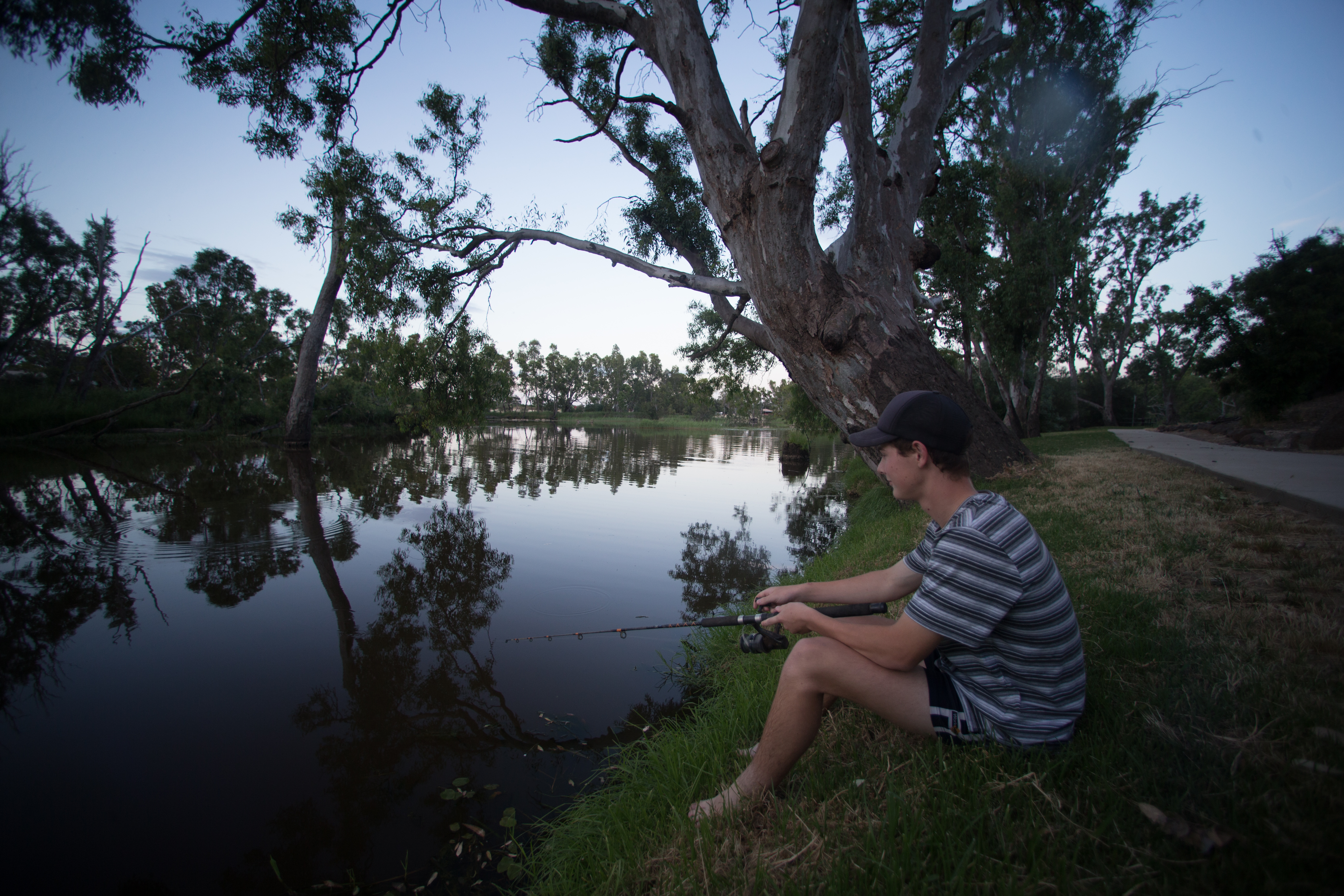Fishing from the banks of the Loddon River