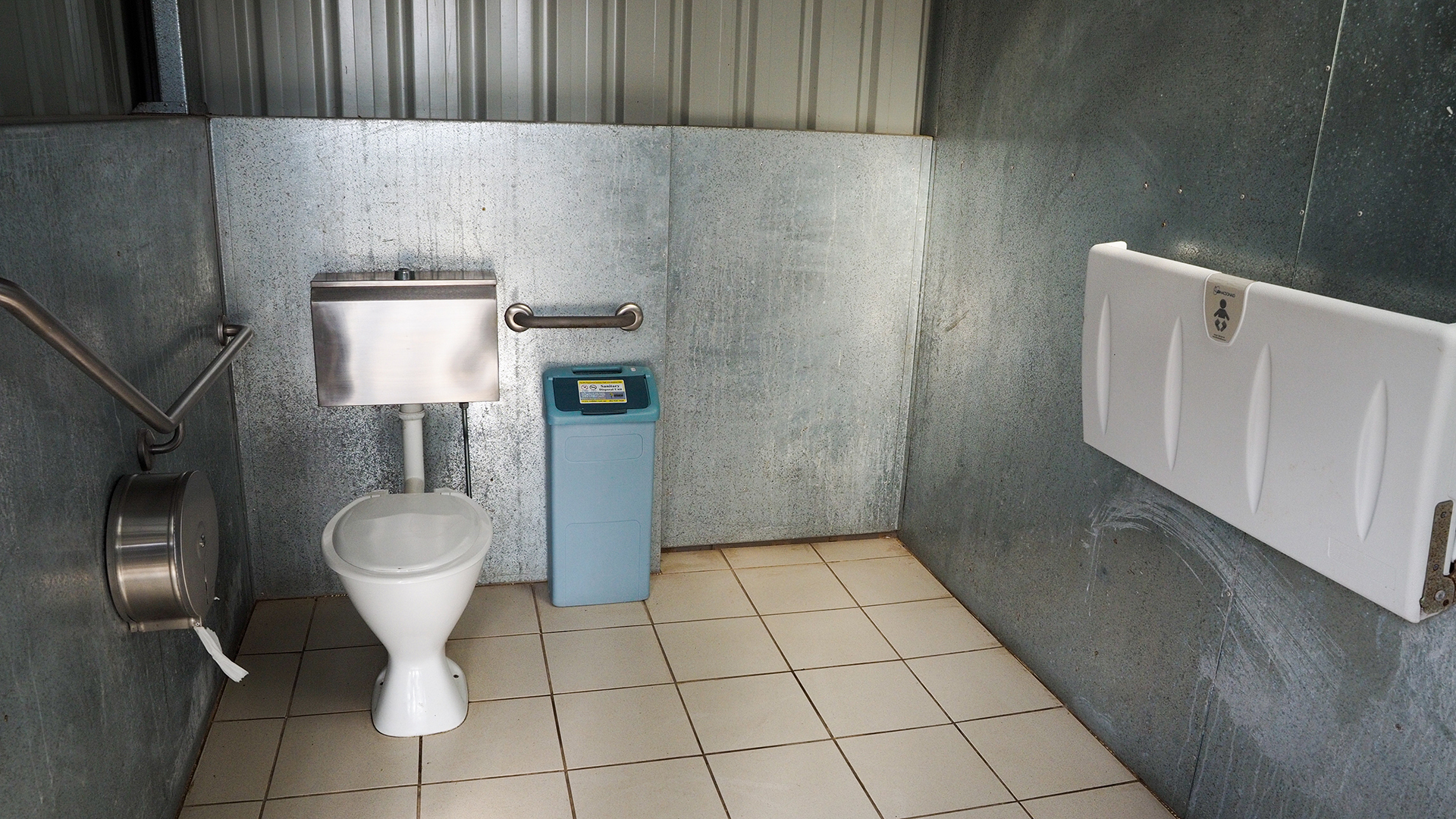 An accessible toilet is located at the Bridgewater River Walk