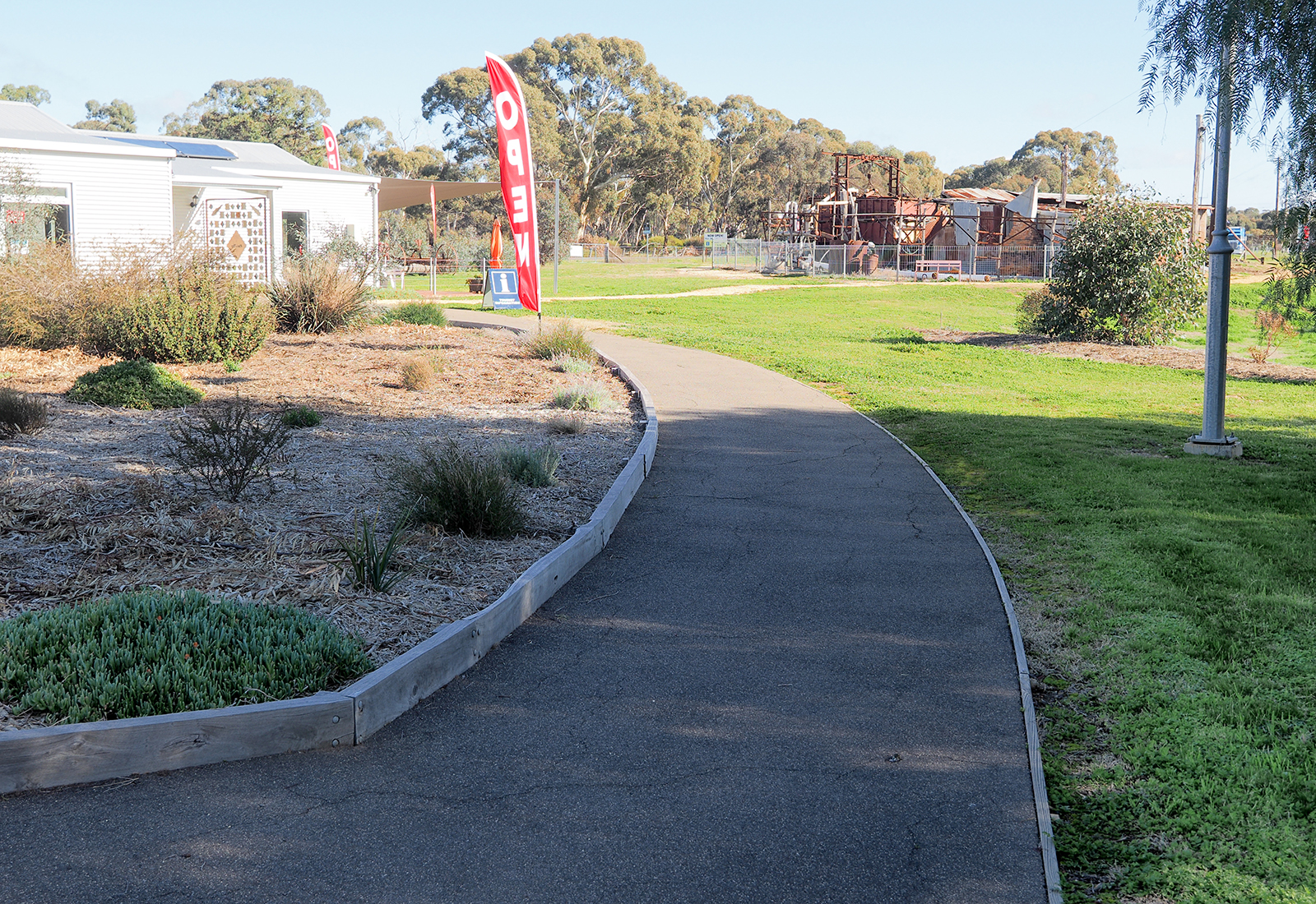 A well formed path allows access from the car park to the museum and cafe