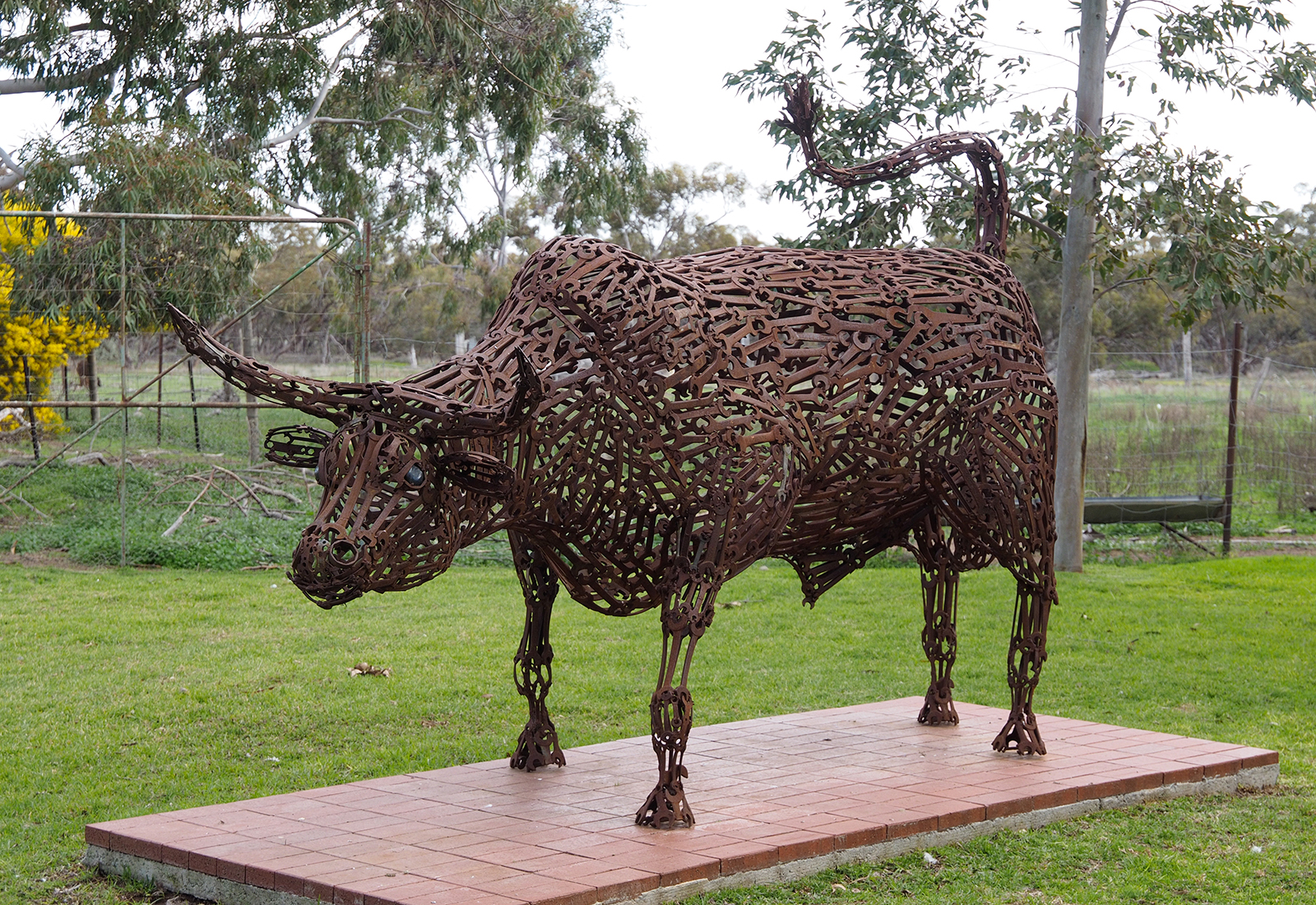 This bull is made of thousands of spanners welded together, no bull