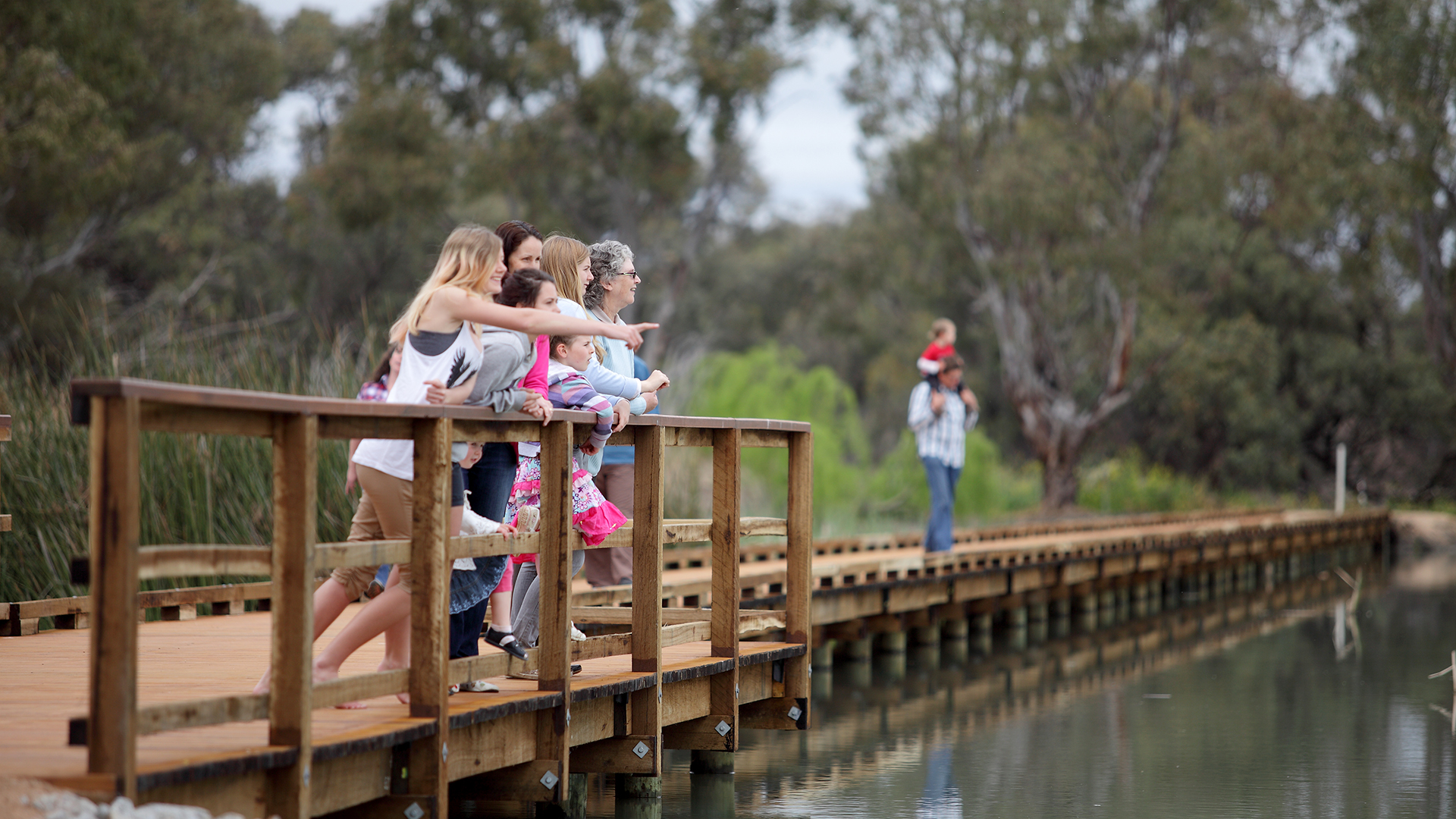 A family on the boardwalk at Little Lake Boort