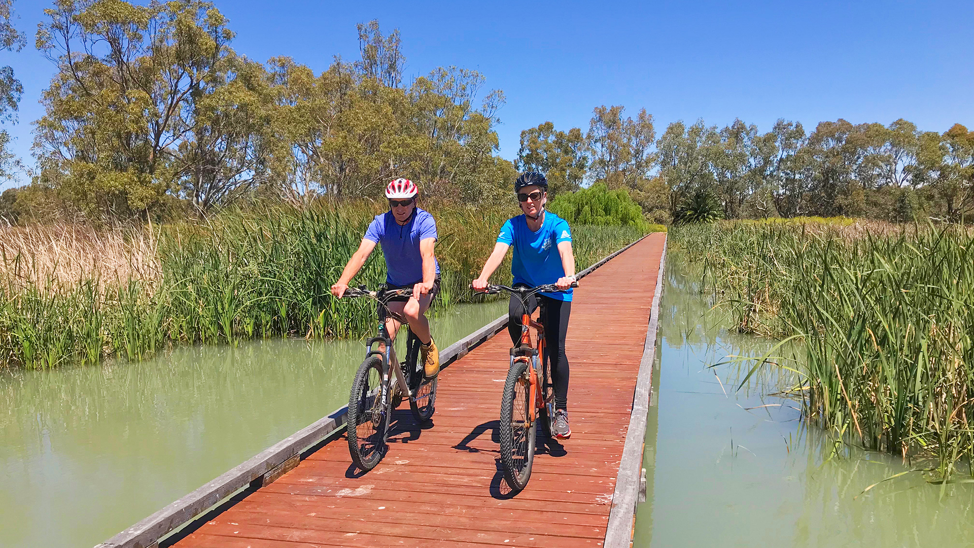 Cycling on the boardwalk around Little Lake Boort