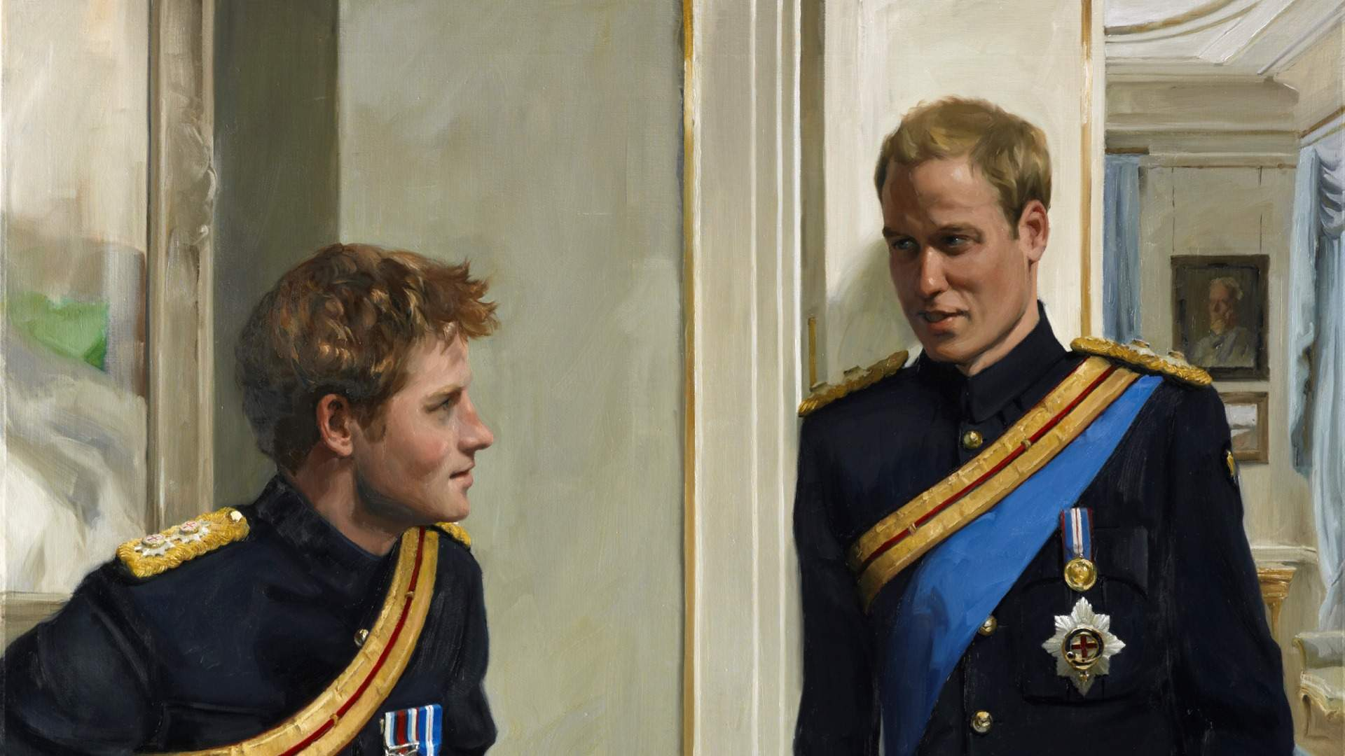 Prince William, (later Duke of Cambridge), Prince Harry (later Duke of Sussex) By Nicola Jane ('Nicky') Philipps, 2009 © National Portrait Gallery, London, Cropped