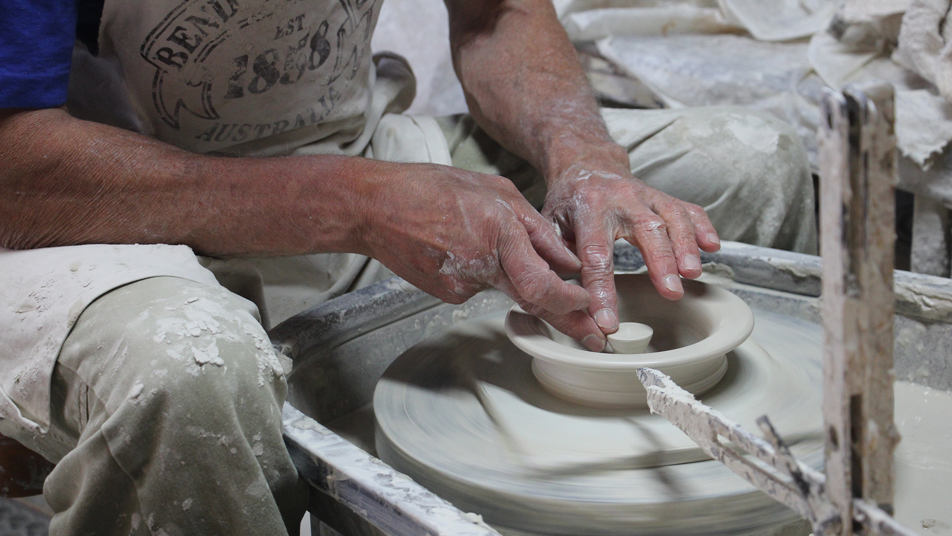 Wheel throwing at Bendigo Pottery