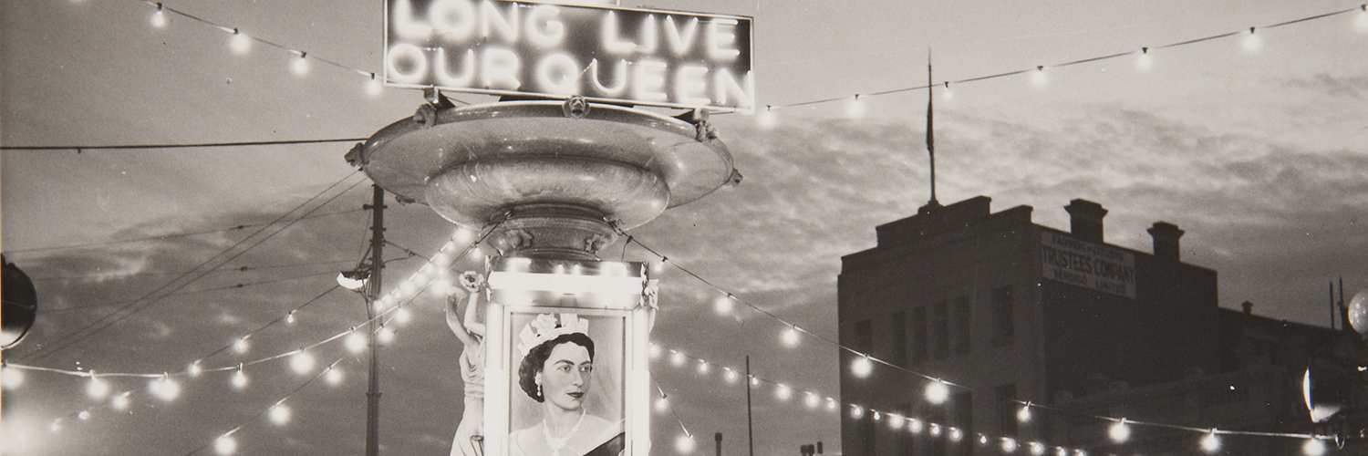 Allan Doney.  Untitled (Long Live Our Queen, Bendigo Alexandra Fountain) 1954, gelatin silver print. Courtesy National Trust of Australia (Victoria), Bendigo Branch
