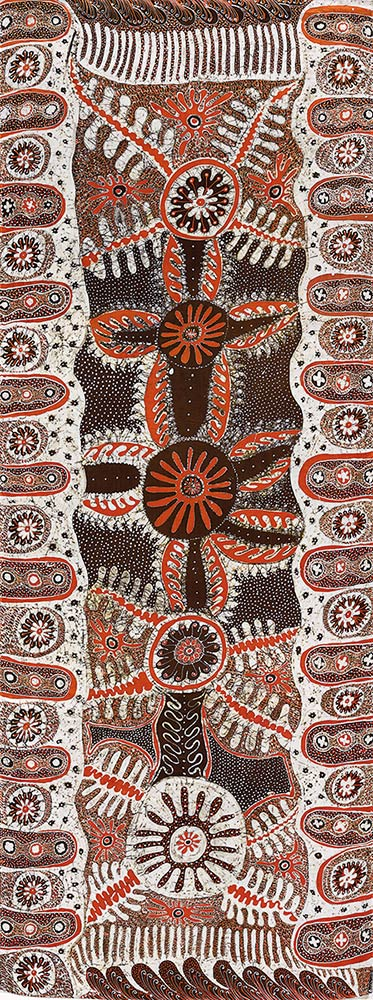 Angkuna Kulyuru, Raiki wara 1993, batik on silk.  Collection National Gallery of Victoria, Melbourne. Purchased through The Art Foundation of Victoria with the assistance of Waltons Limited, Fellow.