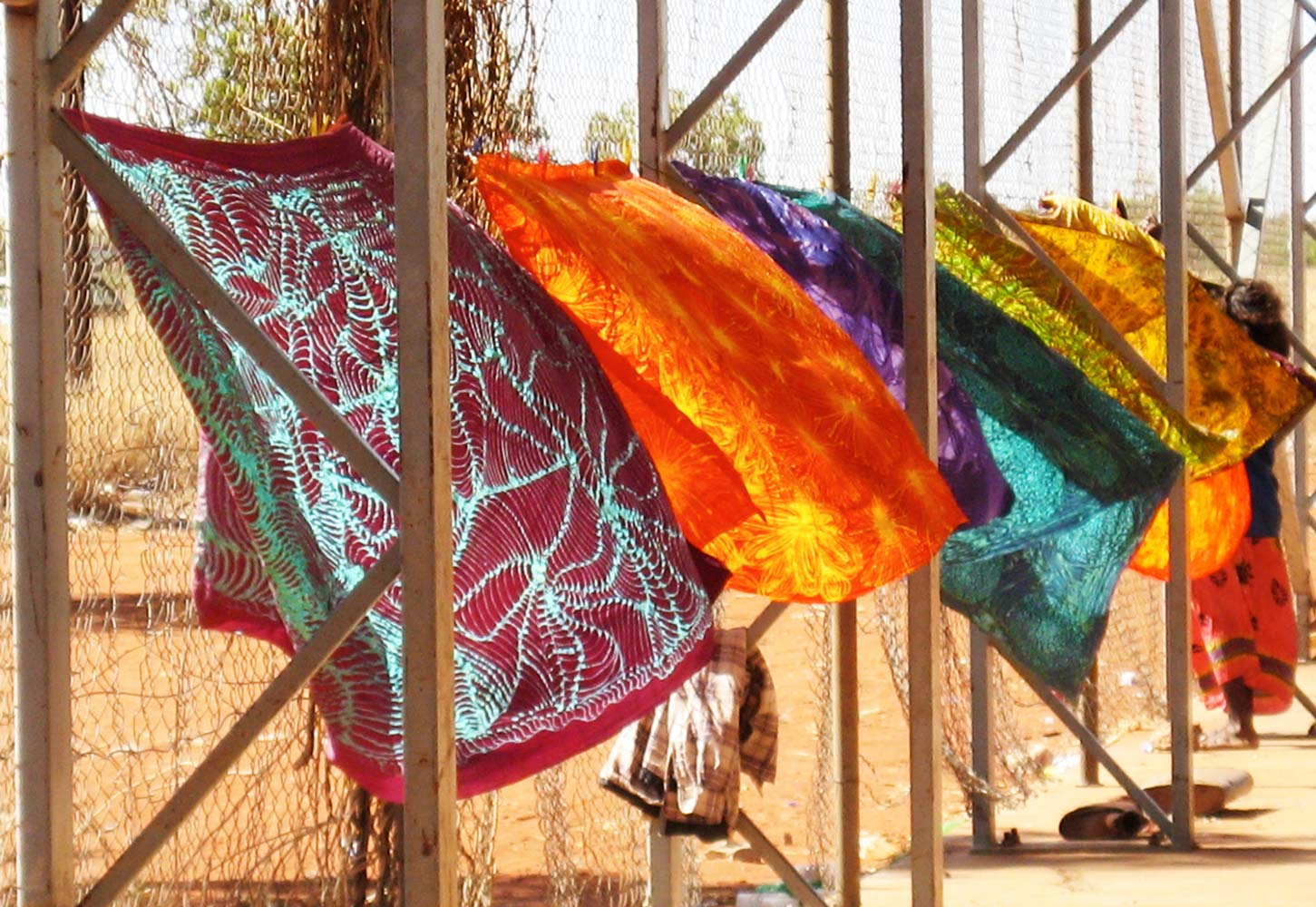 Batiks blowing in the breeze, Utopia Batik Revival Workshop, 2007.  Photo: Julia Murray