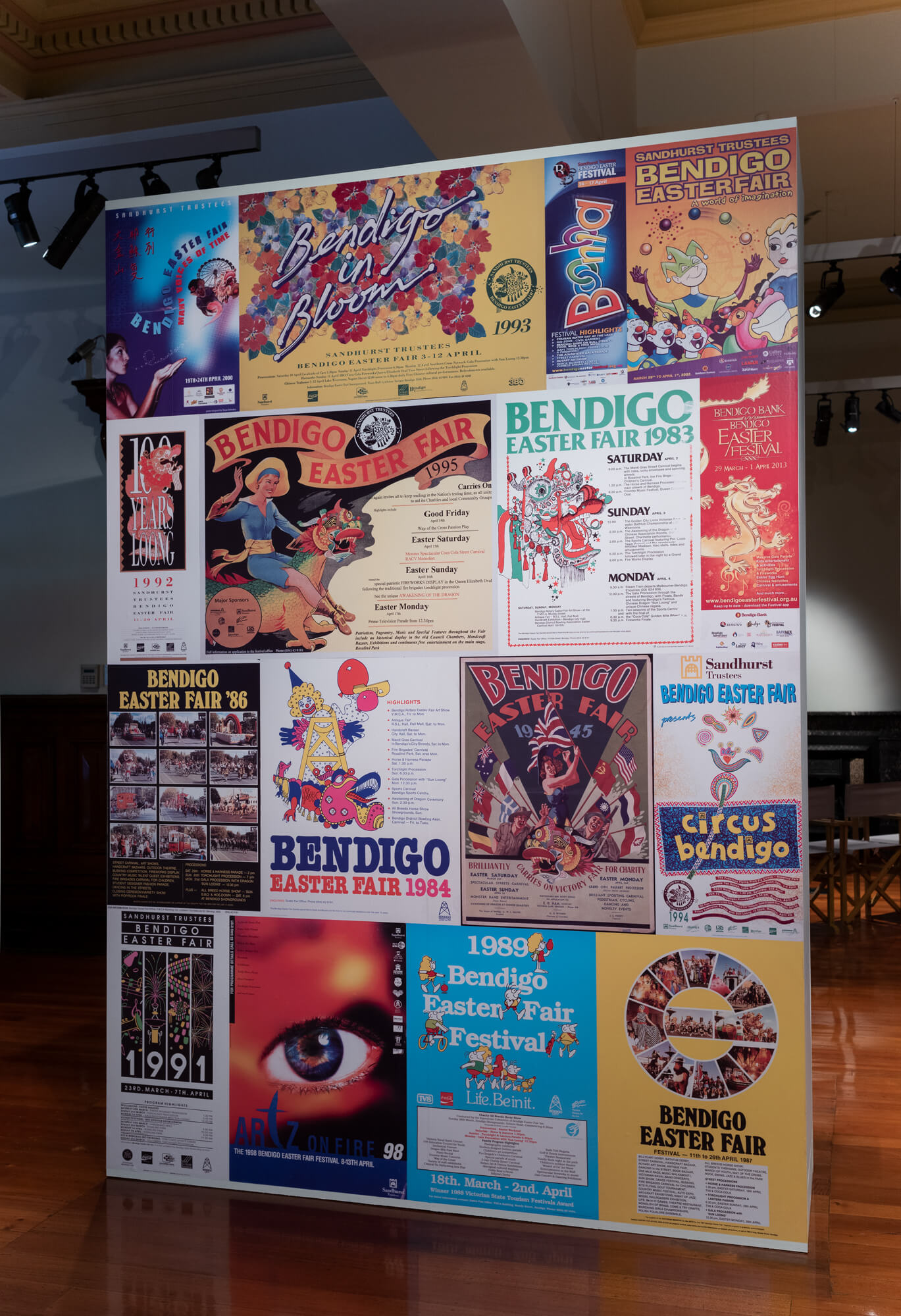 Bendigo Easter Fair promotional posters, 1945 – 2013, digital reproductions of original prints on paper. Courtesy Bendigo Easter Fair Society and Dennis O'Hoy. Photograph: Ian Hill