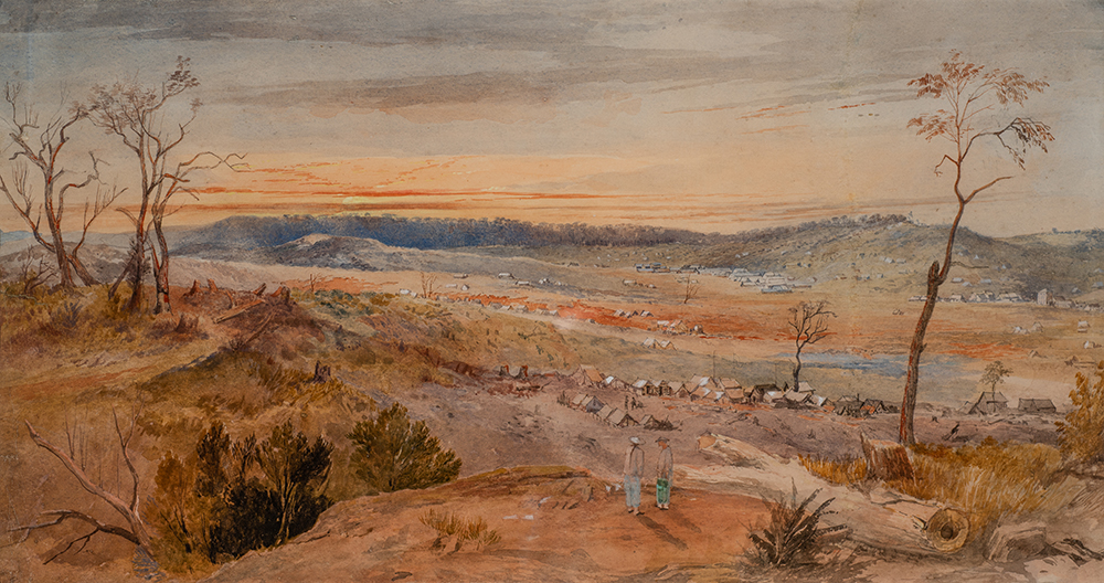 George Rowe, **Kangaroo Flat** 1857. watercolour. Collection Bendigo Art Gallery. Gift of the Estate of Mr. Robert Mackay, 1929. Image Credit: Ian Hill.