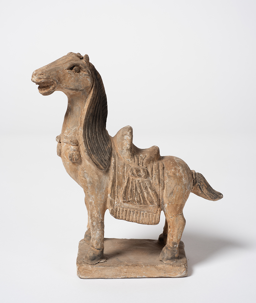 Unknown. **Horse** 20th Century, unglazed earthenware, pigment decoration. Collection Bendigo Art Gallery. Gift of Mrs. G.M. Shannon in memory of Dr. Russell Glover Shannon, 1988.  Image Credit: Ian Hill