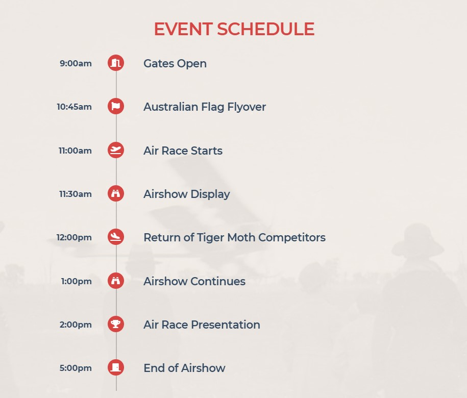 Event Schedule Serpentine Air Race