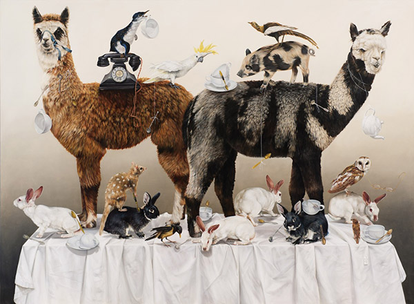 Kate Bergin. The Alpaca's Tea Party 2011, oil on canvas. Image courtesy of the artist and Mossgreen Galleries